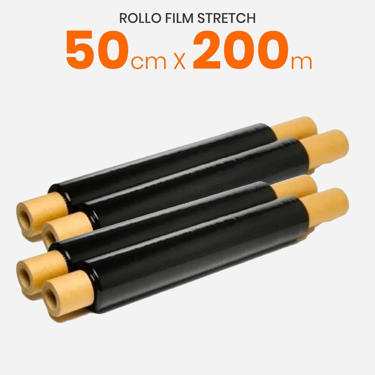 Rollo Film Stretch Virgen Negro Reforzado Con Mango 50cm x 200mts