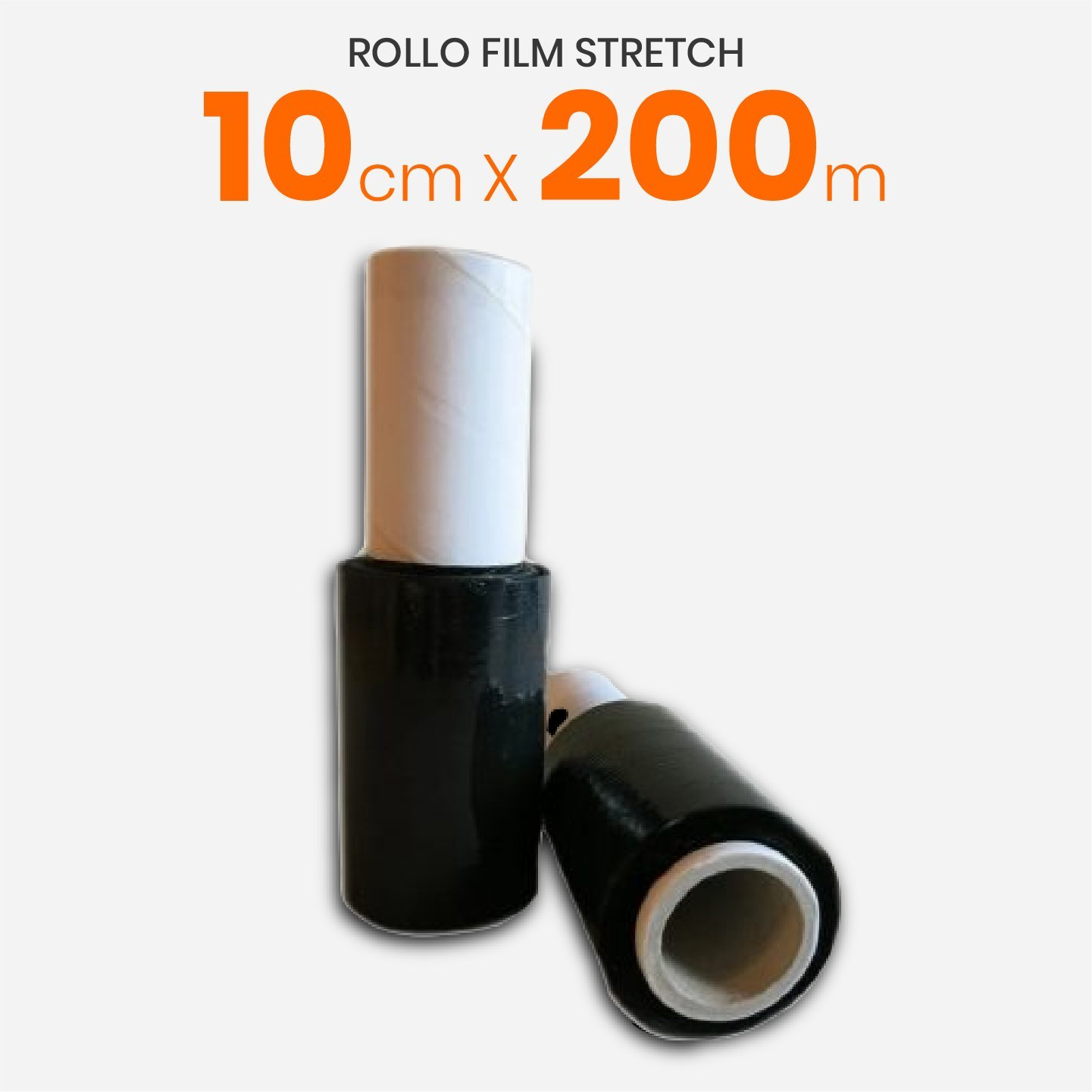 Rollo Film Stretch Virgen Negro Reforzado Con Mango 10cm x 200mts