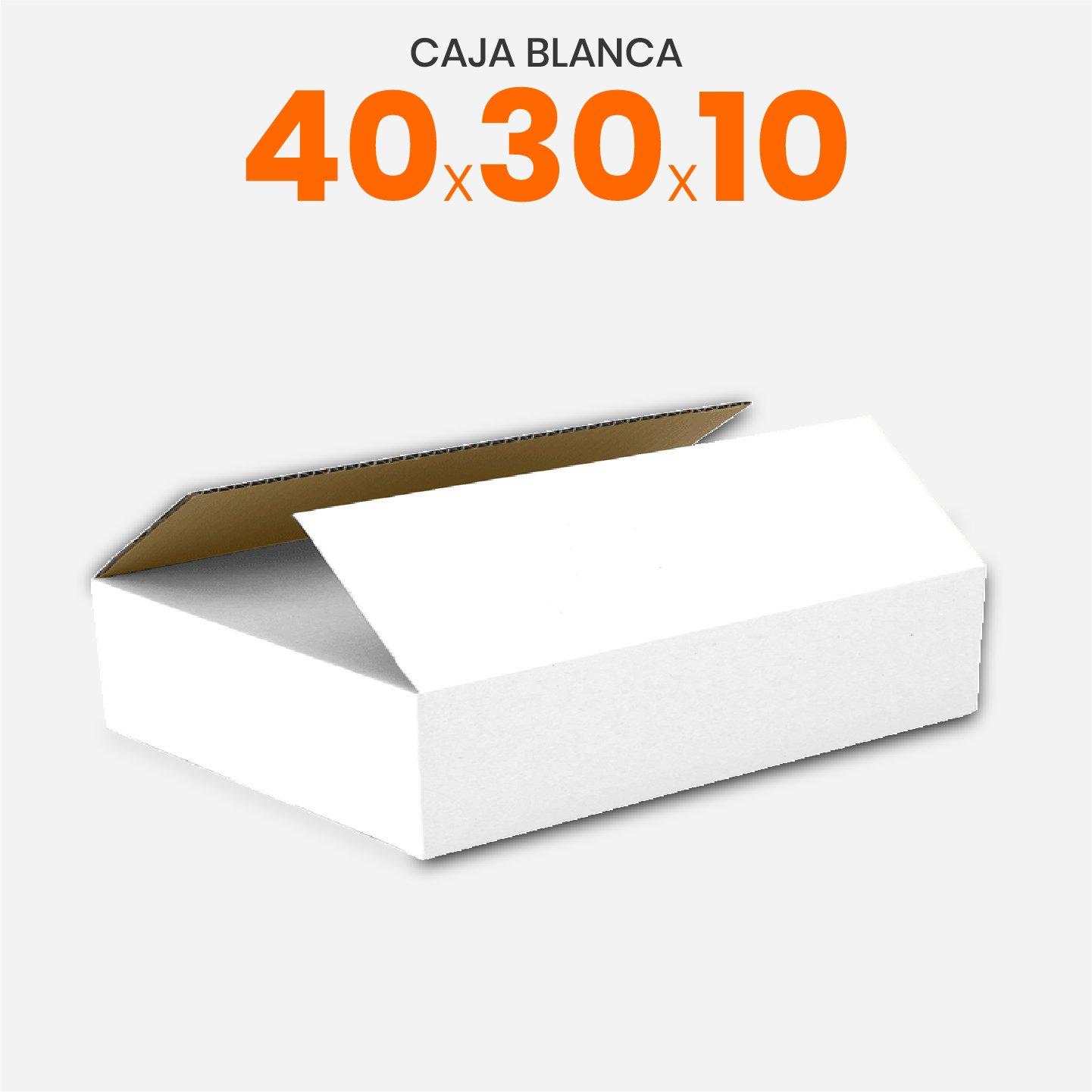 Caja De Cartón Corrugado Blanca 40x30x10