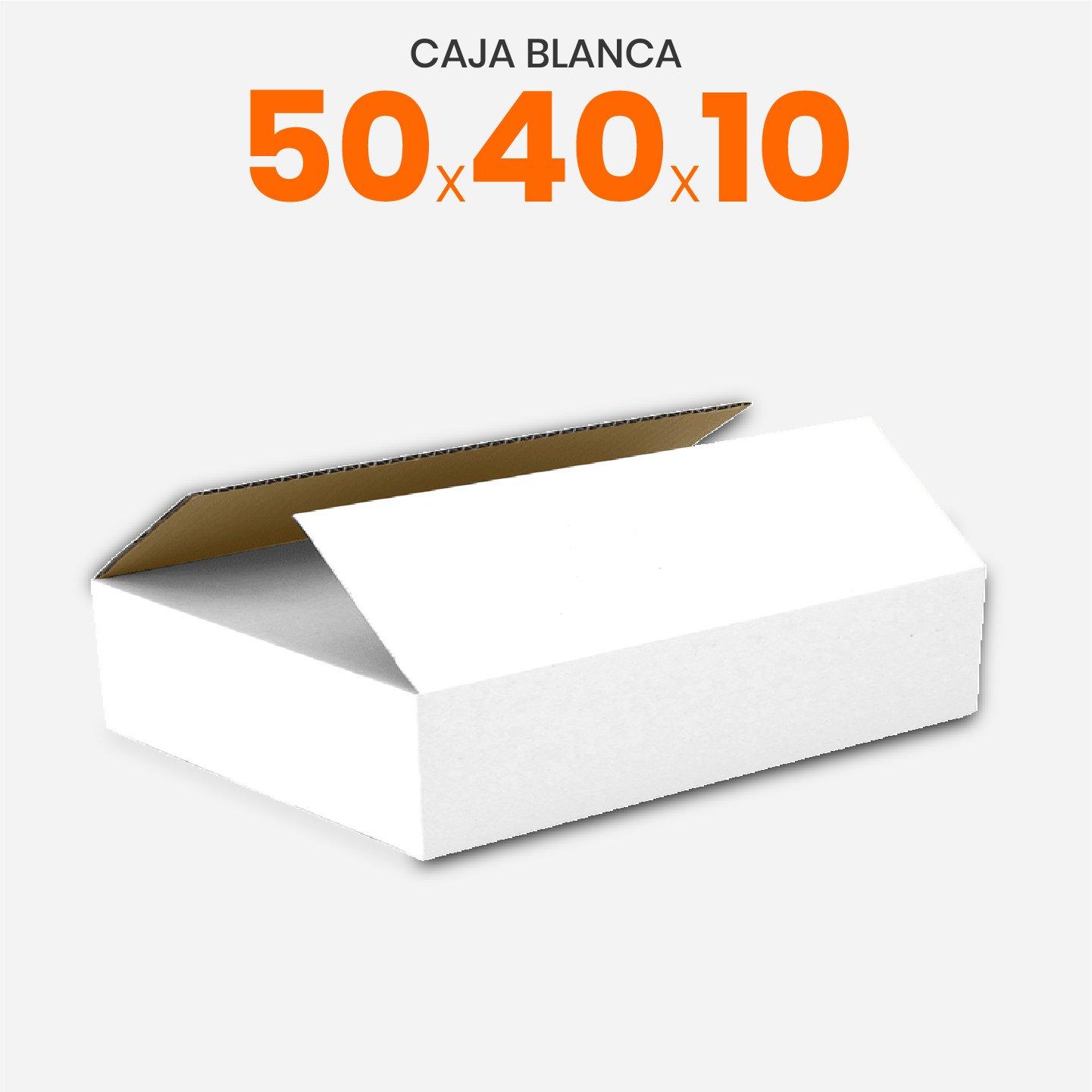 Caja De Cartón Corrugado Blanca 50x40x10