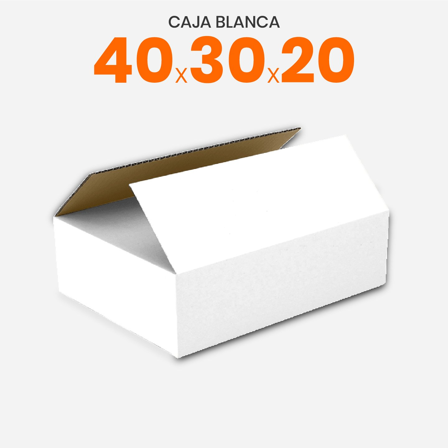 Caja De Cartón Corrugado Blanca 40x30x20