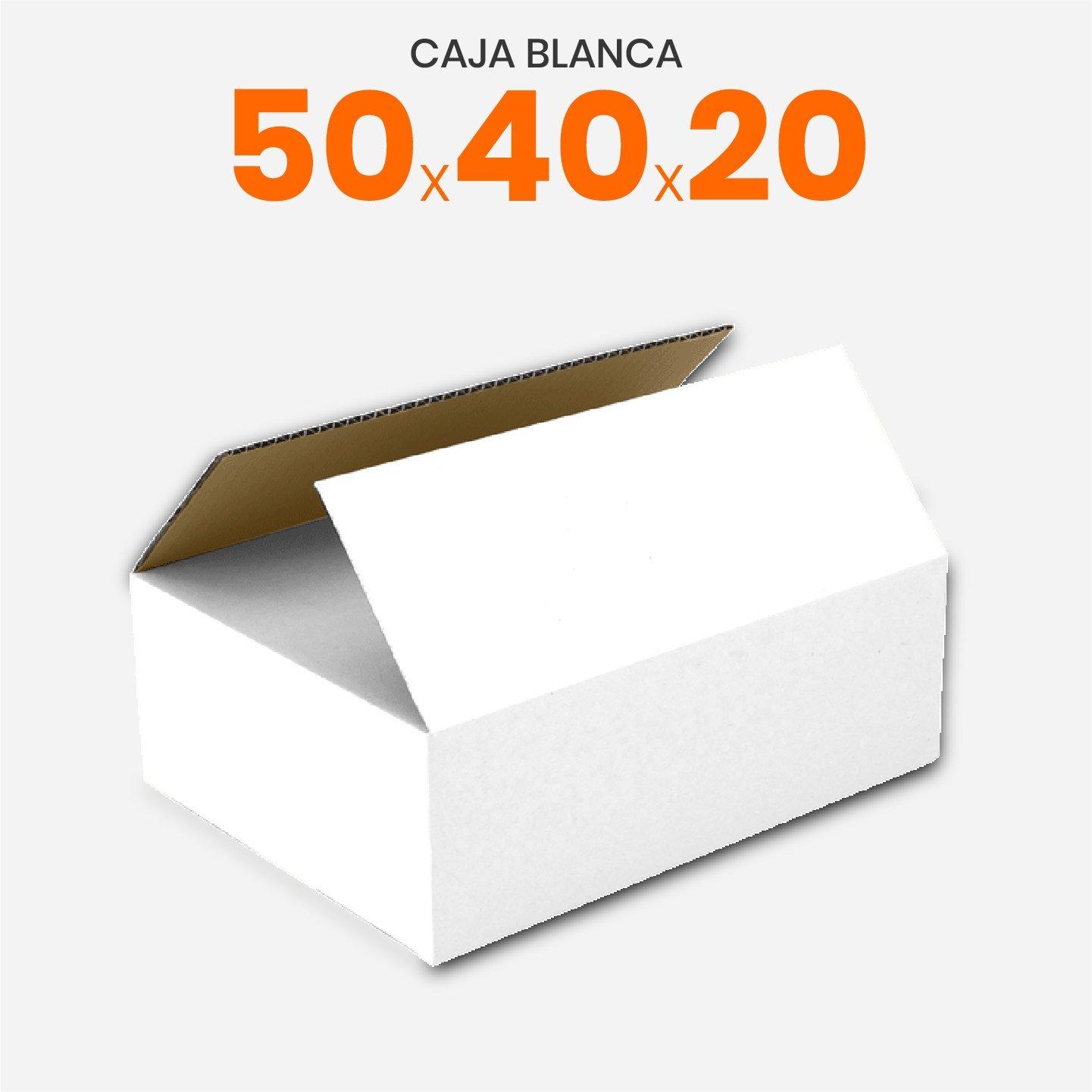 Caja De Cartón Corrugado Blanca 50x40x20