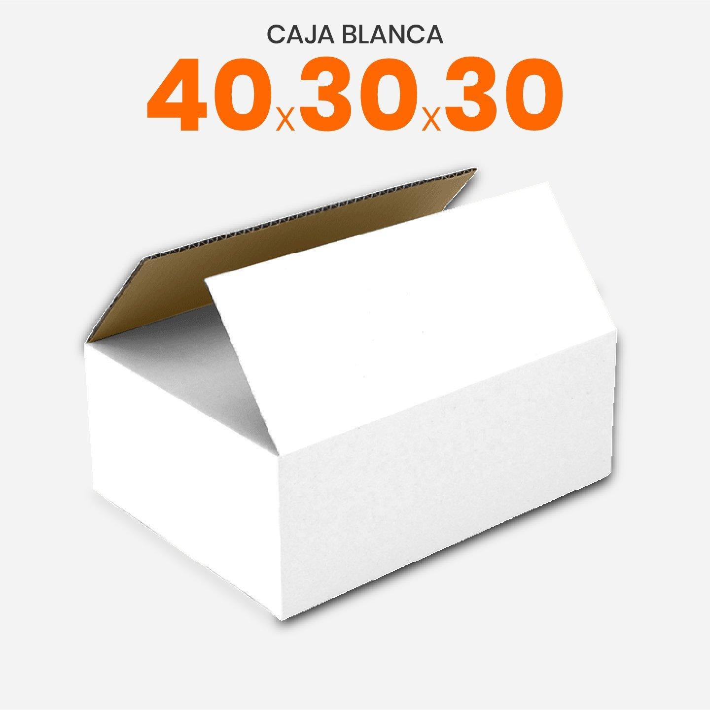 Caja De Cartón Corrugado Blanca 40x30x30