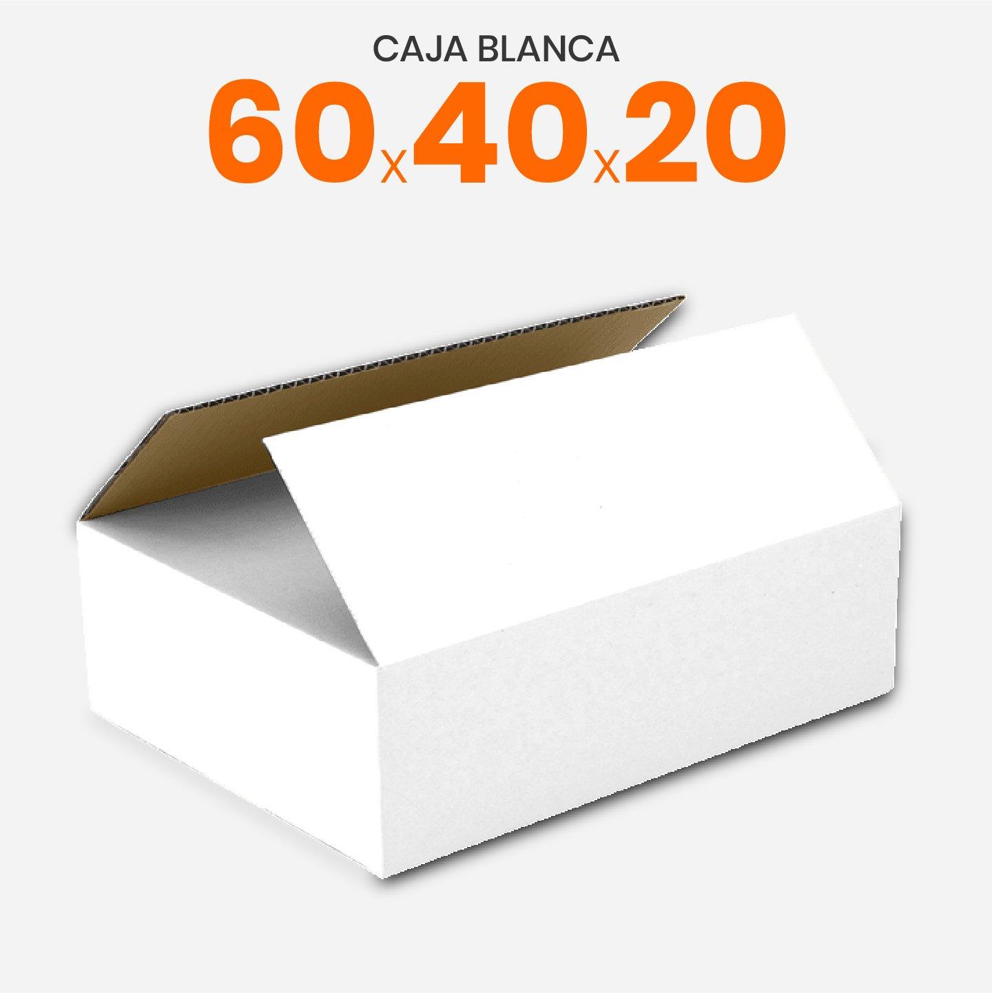 Caja De Cartón Corrugado Blanca 60X40X20