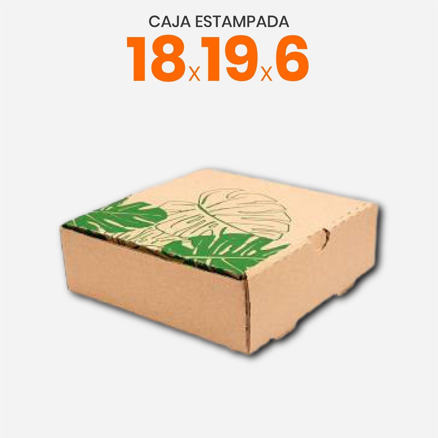 Caja De Cartón Corrugado Con Estampa De Hojas 18x19x6