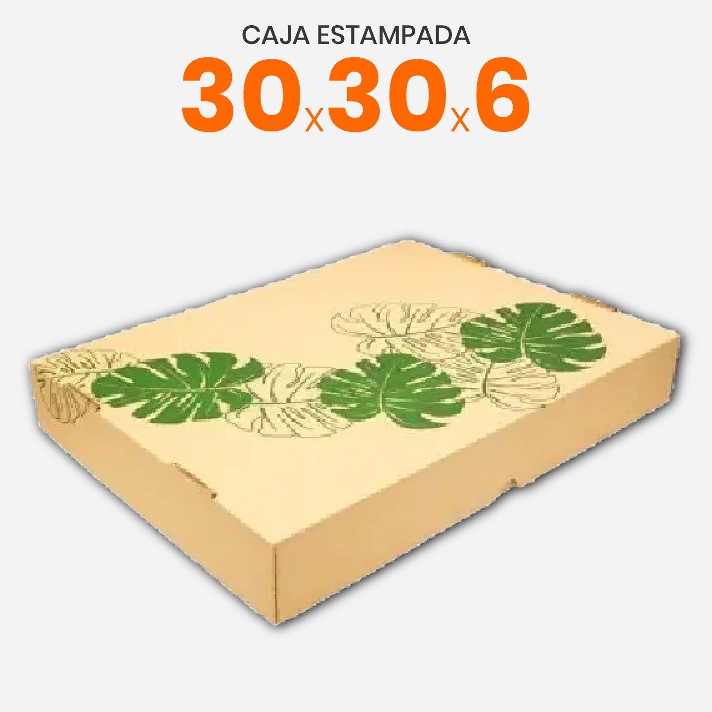 Caja De Cartón Corrugado Con Estampa De Hojas 30x30x6