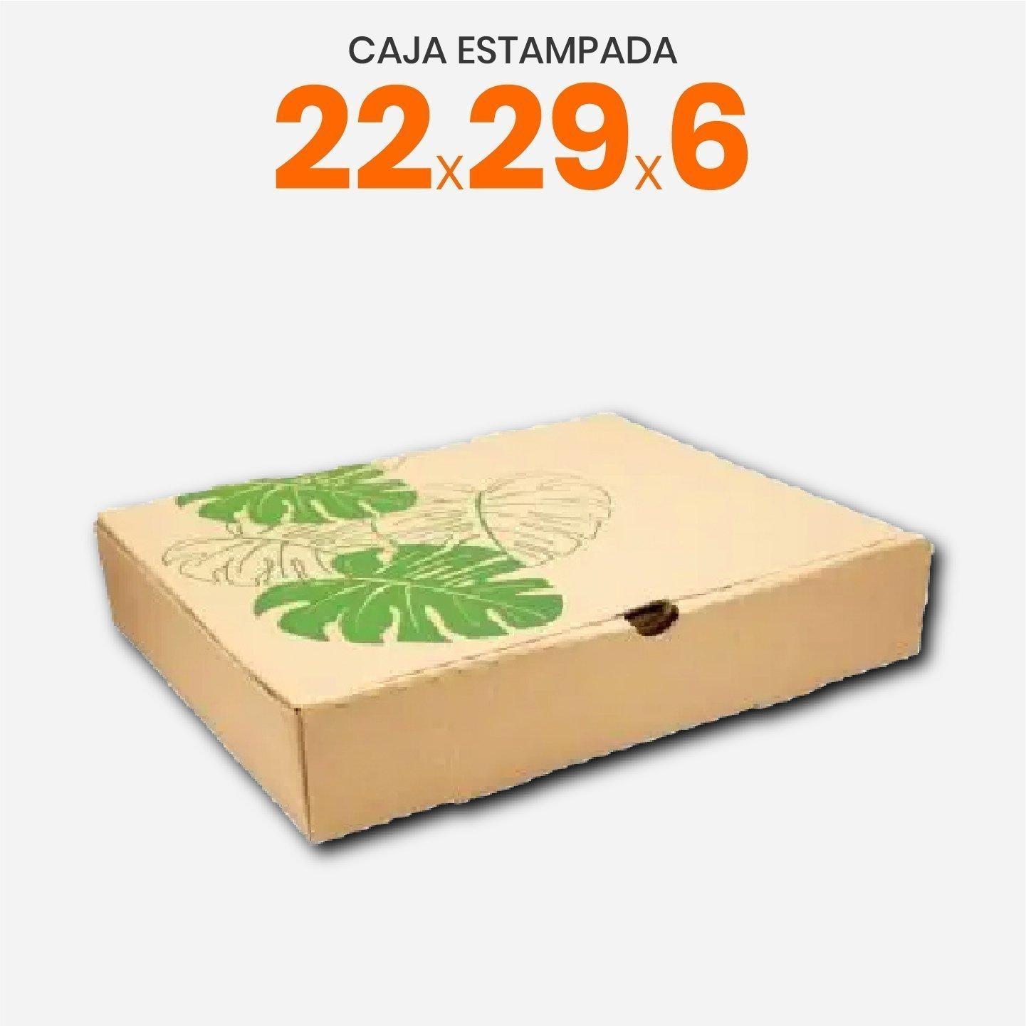 Caja De Cartón Corrugado Con Estampa De Hojas 22x29x6