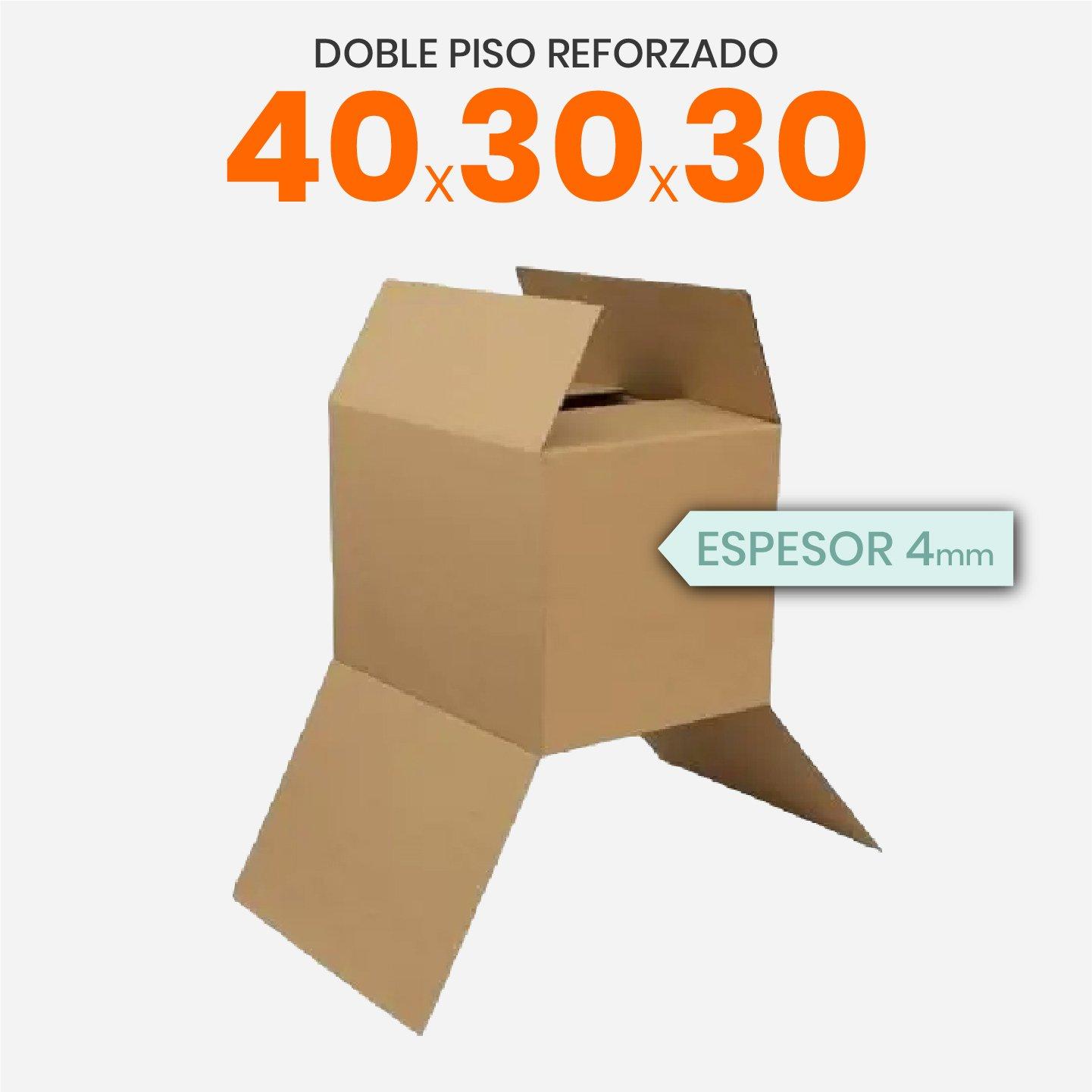 Caja De Cartón Corrugado Reforzada 40x30x30 4mm Doble Piso Reforzado
