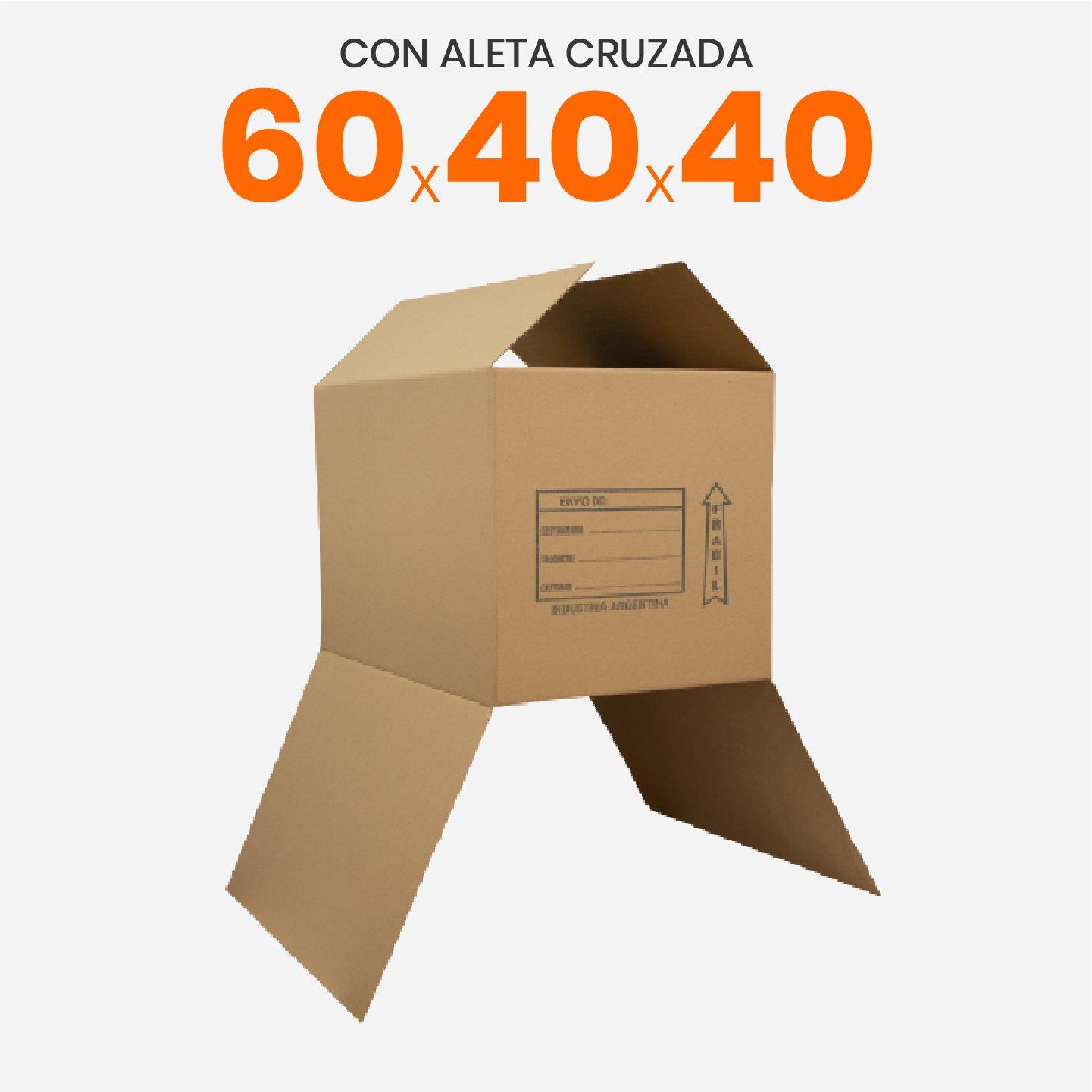 Caja De Cartón Corrugado Reforzada 60x40x40 Con Aleta Cruzada