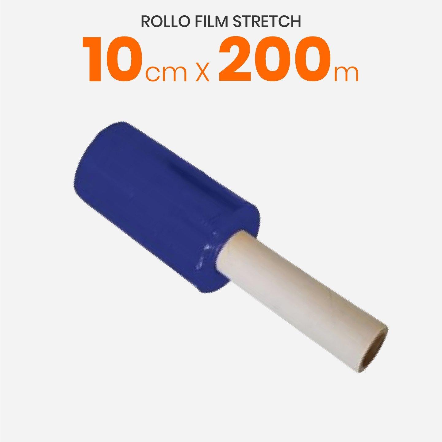 Rollo Film Stretch Virgen Azul Reforzado Con Mango 10cm x 200mts