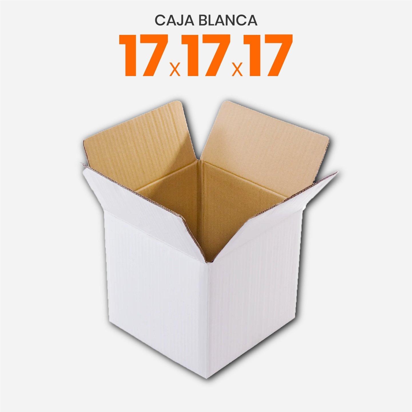 Caja De Cartón Corrugado Reforzada Blanca 17x17x17