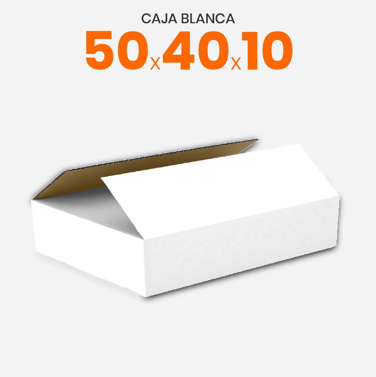 Caja De Cartón Corrugado Reforzada Blanca 50x40x10