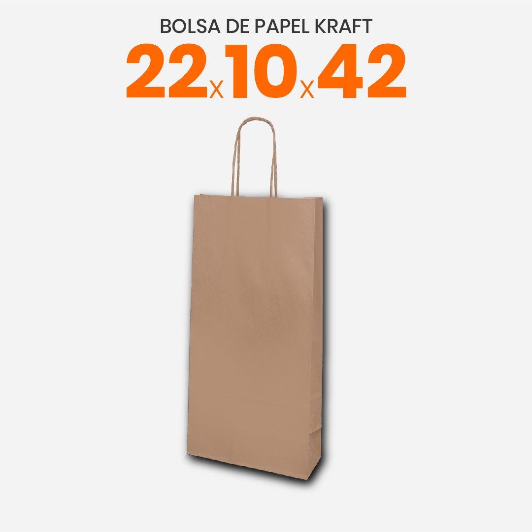 Bolsa Papel Madera Kraft Con Manija 22x10x42