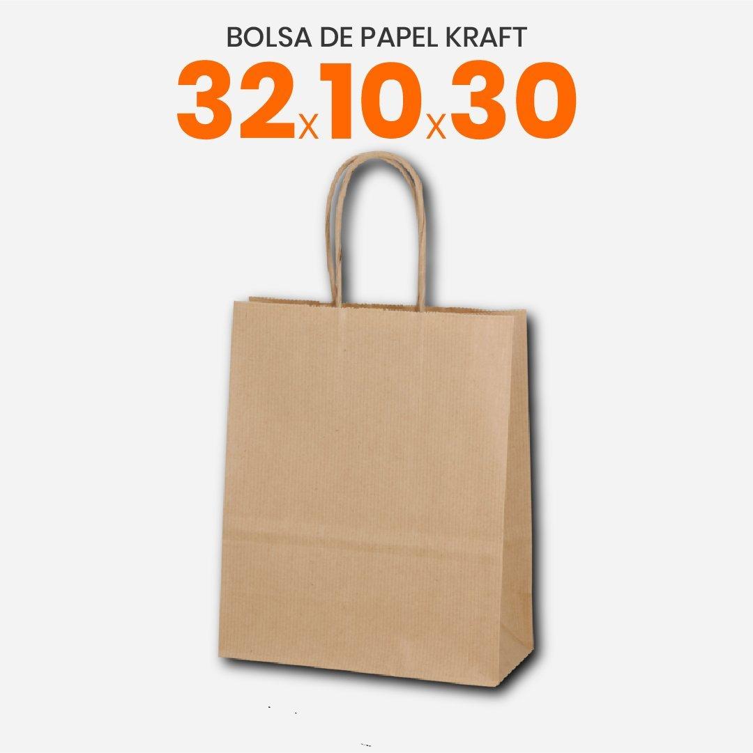 Bolsa Papel Madera Kraft Con Manija 32x10x30