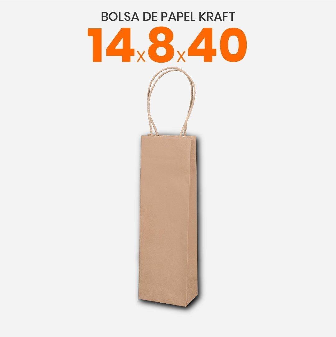 Bolsa Papel Madera Kraft Con Manija 14x8x40