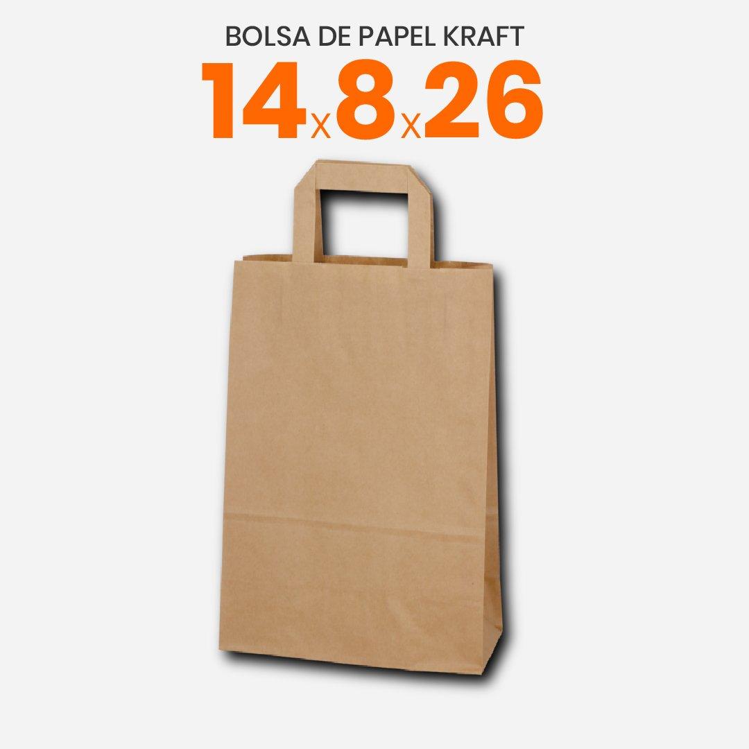 Bolsa de papel Kraft con manija plana 14x8x26