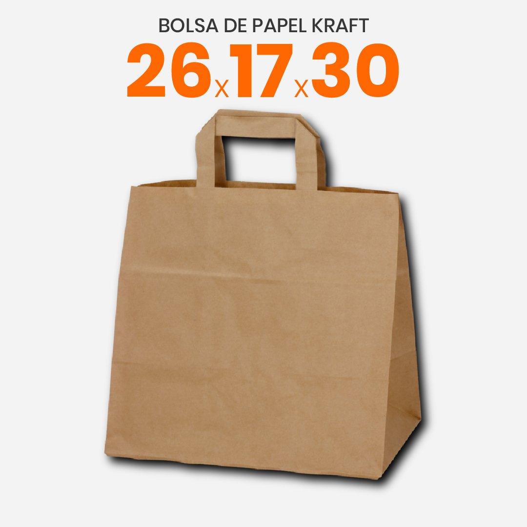 Bolsa de papel Kraft con manija plana 26x17x30
