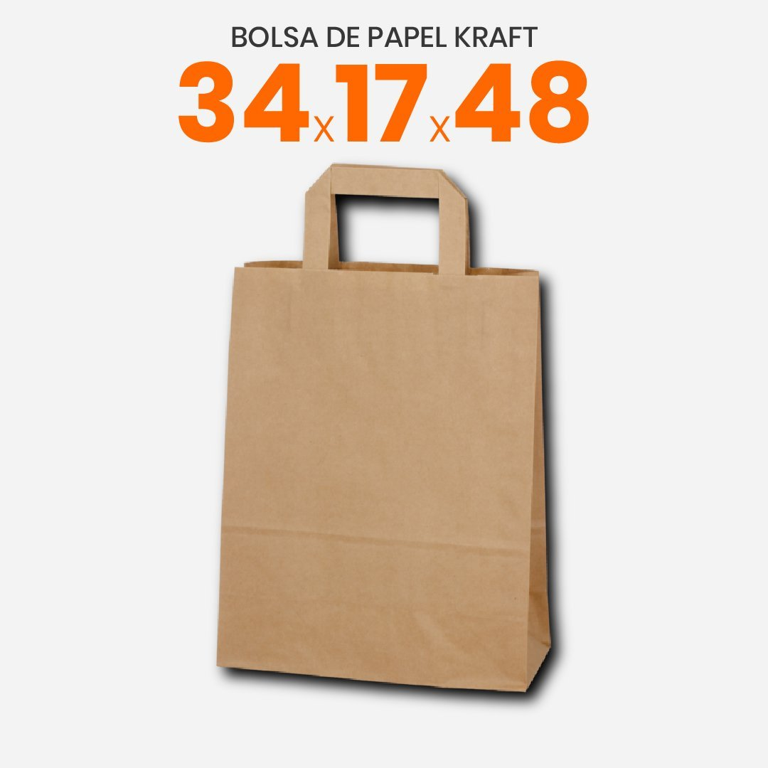 Bolsa de papel Kraft con manija plana 34x17x48