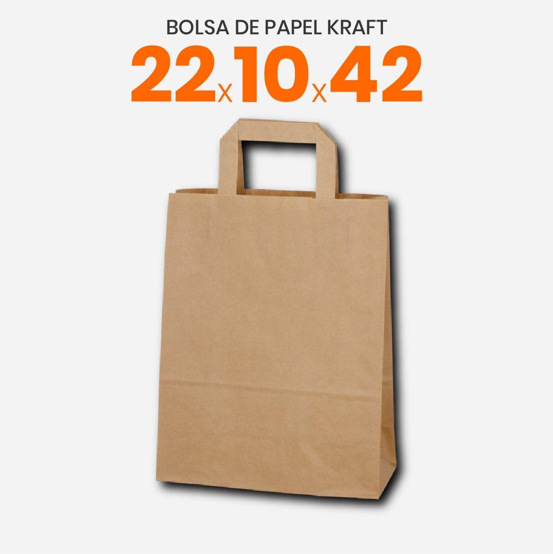 Bolsas de papel kraft con manija plana 22x10x42