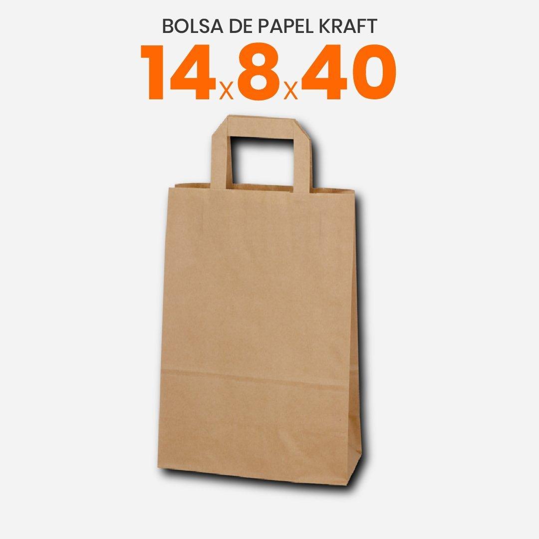 Bolsa de papel Kraft con manija plana 14x8x40