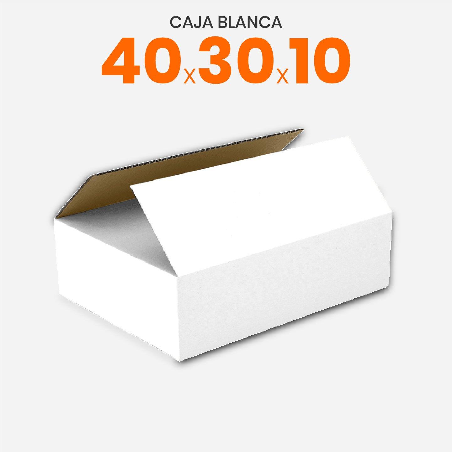 Caja De Cartón Corrugado Reforzada Blanca 40x30x10